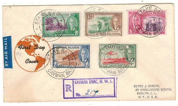 CAYMAN ISLANDS - 1950 registered illustrated FDC to UK used at STAKE BAY.