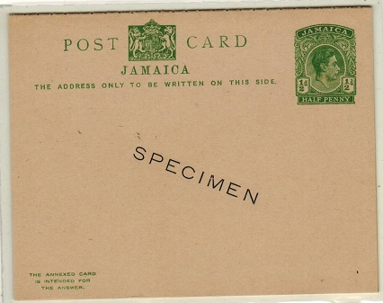 JAMAICA - 1938 1/2d + 1/2d green PSRC unused with SPECIMEN h/s.  H&G 32.
