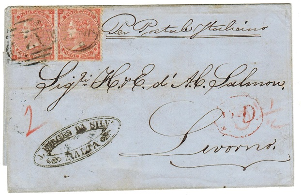 MALTA - 1864 8d rate outer wrapper to Italy.