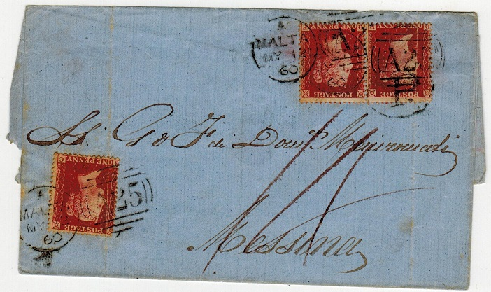MALTA - 1860 1d red (x3) on outer wrapper to Italy.