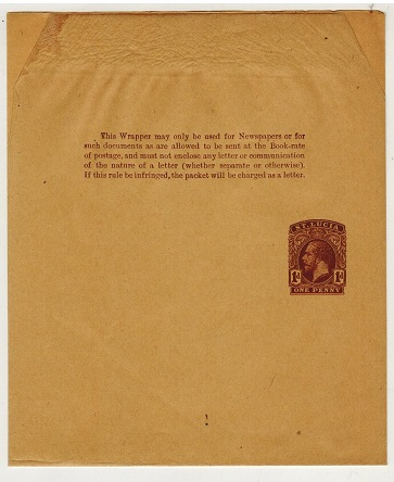 ST.LUCIA - 1913 1d brown postal stationery wrapper unused.  H&G 7.