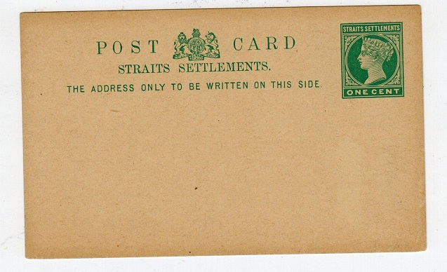 MALAYA (Straits Settlements) - 1885 1c green PSC. Unused.  H&G 5.