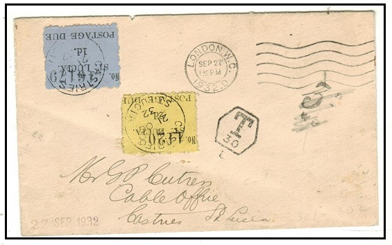 ST.LUCIA - 1932 inward (Panton) postage due cover from UK bearing 1d and 2d (SG D1+D2).