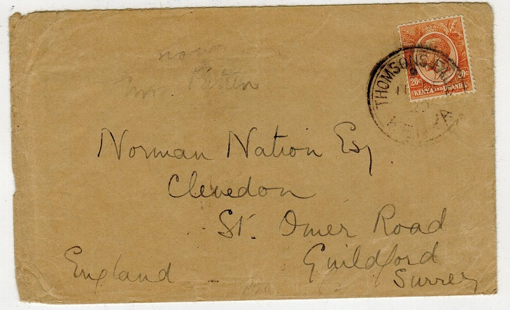 K.U.T. - 1920 20c rate cover to UK used at THOMSONS FALLS.
