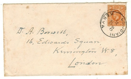 K.U.T. - 1922 10c rate cover to UK used at LONDIANI.