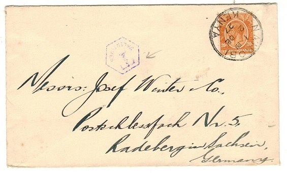 K.U.T. - 1927 20c rate underpaid cover to Germany used at NAIROBI with