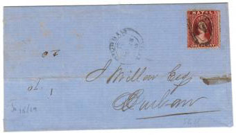 NATAL - 1865 wrapper with 1d chalon use.