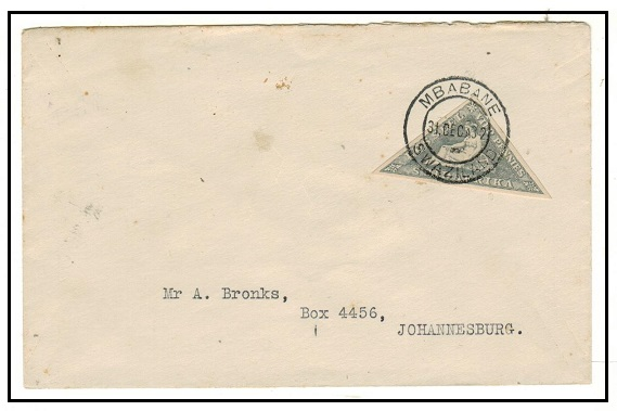 SWAZILAND - 1932 4d triangular adhesive of South Africa used on cover at MBABANE/SWAZILAND.