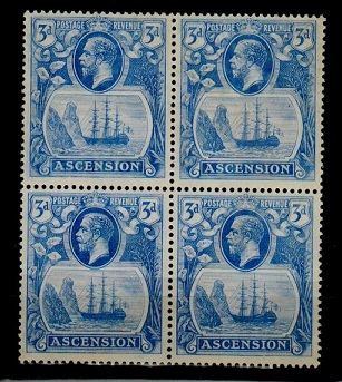 ASCENSION - 1924 3d blue U/M block of four.  SG 14.
