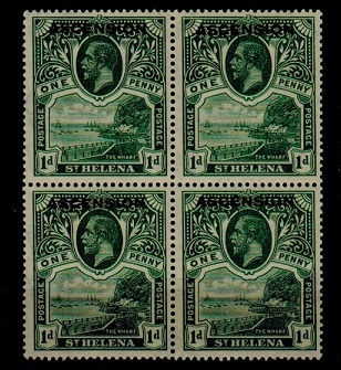 ASCENSION - 1922 1d green U/M block of four.  SG 2.