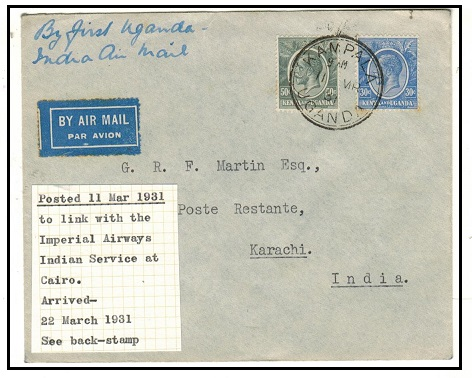 K.U.T. - 1931 80c rate first flight cover via Imperial Airways to India.