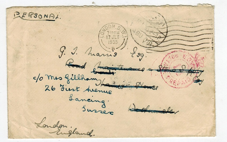 EGYPT (Br.Forces Used In) - 1935 cover to UK with 1p letter stamp used from ABU QIR.