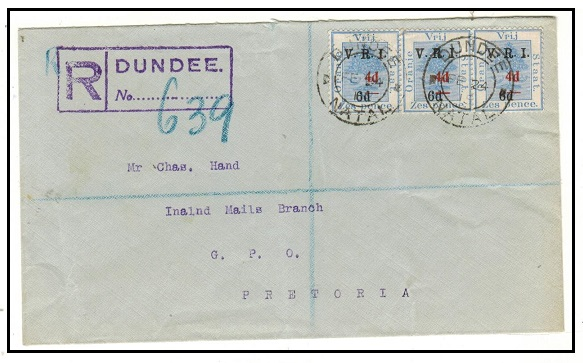 SOUTH AFRICA - 1915 4d on 6d/6d ORC surcharge strip of three on registered cover used at DUNDEE.