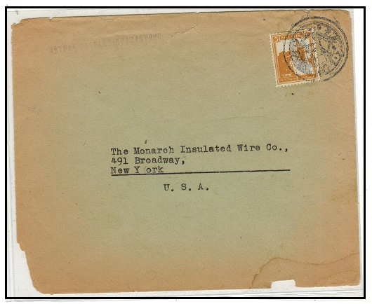 PALESTINE - 1930 (circa) 5m rate cover to USA cancelled by negative seal in black.