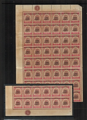 MALAYA (Perak) - 1900 ONE CENT black on 4c surcharge pane of 60 (separated).  SG 82.