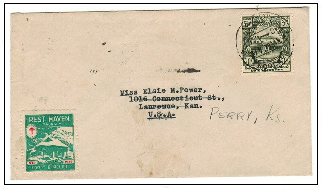 BURMA - 1948 3 1/2a rate cover to USA with scarce REST HAVEN