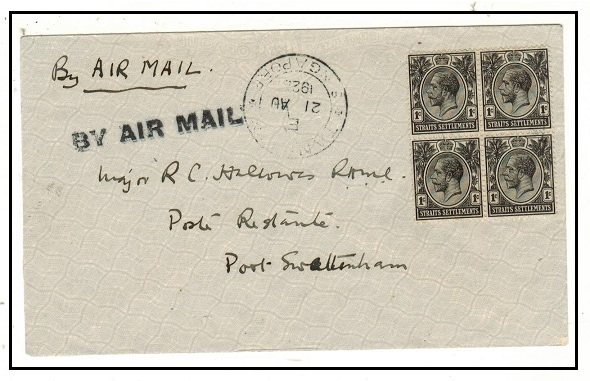 SINGAPORE - 1926 4c rate Tanglin to Port Swetenham first flight cover.