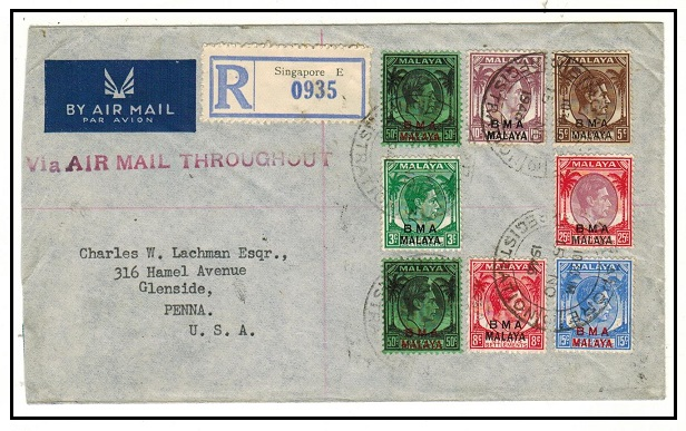 SINGAPORE - 1946 multi franked BMA use cover with