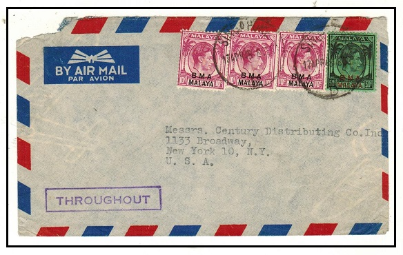 SINGAPORE - 1948 80c rate BMA cover use struck by violet boxed