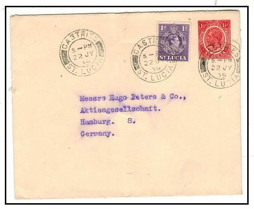 ST.LUCIA - 1936 1 1/2d red PSE uprated to Germany.  H&G 3.
