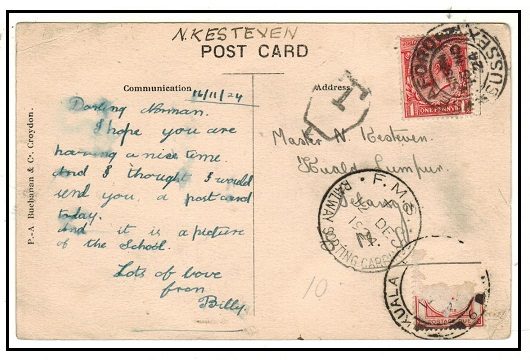 MALAYA (FMS) - 1924 inward underpaid postcard with FMS/RAILWAY SORTING CARRIAGE cds.