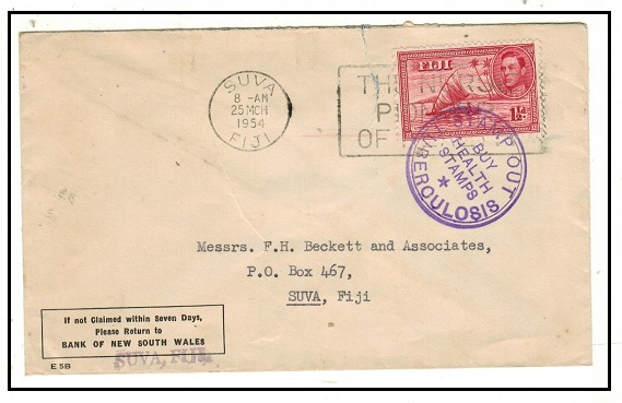 FIJI - 1954 1/2d rate local cover with scarce