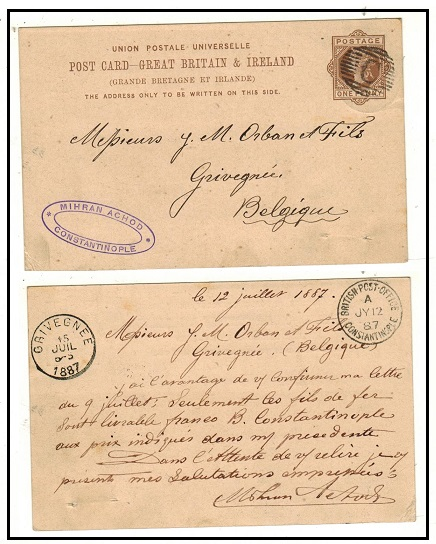 BRITISH LEVANT - 1883 1d brown PSC of GB to Belgium cancelled by