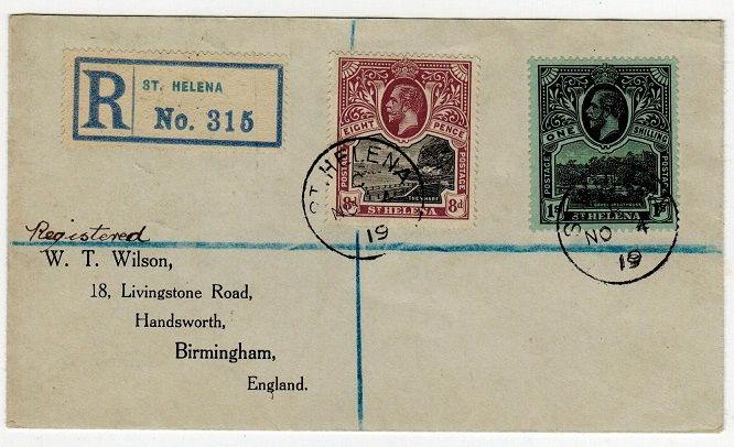 ST.HELENA - 1919 8d and 1/- stamps on registered cover to UK.
