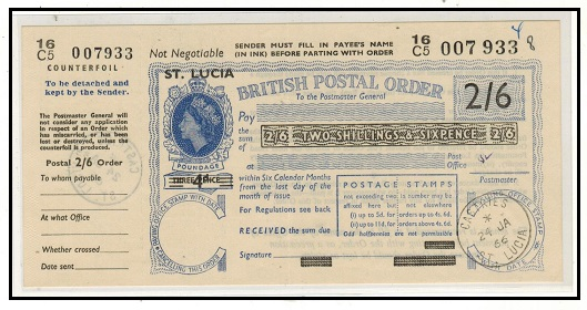 ST.LUCIA - 1966 use of 2/6d blue POSTAL ORDER of GB overprinted ST.LUCIA/4d.