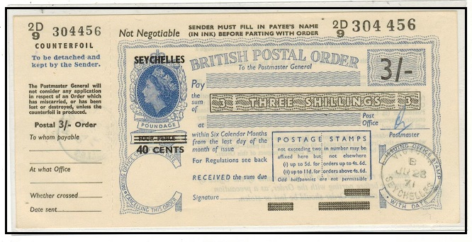 SEYCHELLES - 1971 3/- blue use of POSTAL ORDER of GB overprinted SEYCHELLES/40 cents.