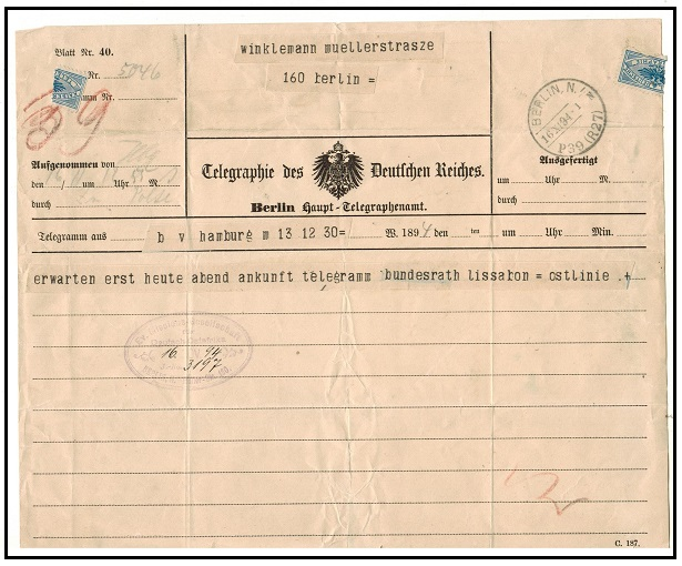TANGANYIKA - 1894 inward TELEGRAM form from Berlin to Tanganyika Mission.