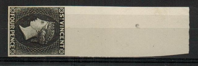 ST.VINCENT - 1863 4d IMPERFORATE PLATE PROOF top marginal example printed in black.
