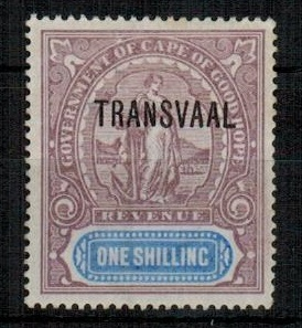 TRANSVAAL - 1902 1/- lilac and blue REVENUE adhesive mint.  Barefoot 80.