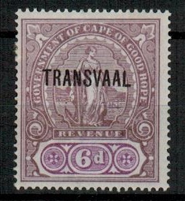 TRANSVAAL - 1902 6d lilac and violet REVENUE adhesive mint. Barefoot 79.