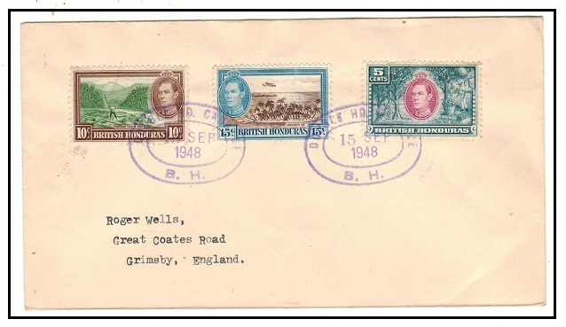 BRITISH HONDURAS - 1948 cover to UK used at DOUBLE HEAD CABBAGE/B.H.