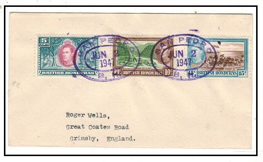 BRITISH HONDURAS - 1947 cover to UK used at SAN PEDRO/B.H.