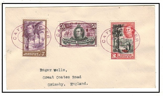 BRITISH HONDURAS - 1947 cover to UK used at CAYE CAUKER/B.H.