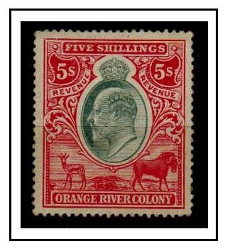 ORANGE RIVER COLONY - 1905 5/- red and green REVENUE adhesive mint.