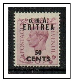 B.O.F.I.C. (Eritrea) - 1948 50c on 6d mint with torn paper flaw at top edge.  SG E7.