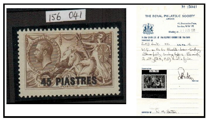 BRITISH LEVANT - 1921 45pi on 2/6d