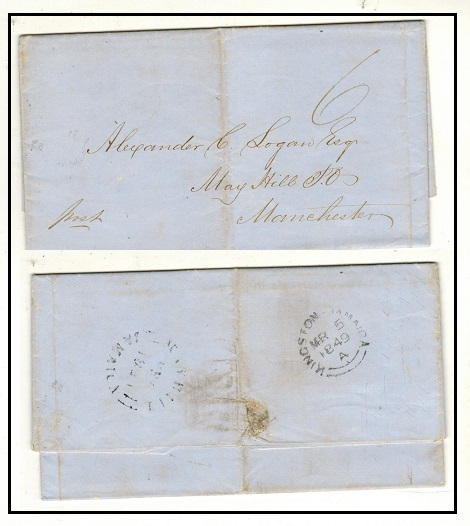 JAMAICA - 1849 stampless entire to UK used at MAYHILL/JAMAICA.