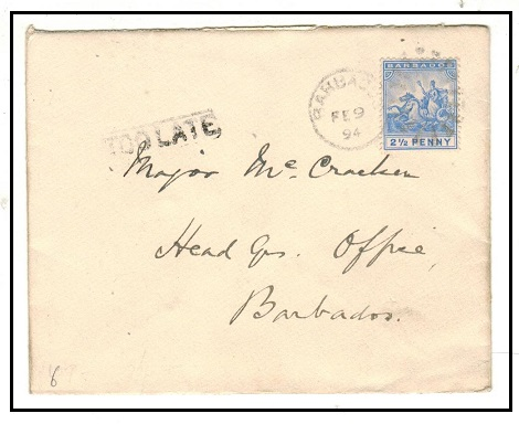 BARBADOS - 1894 2 1/2d rate local cover struck TOO LATE.