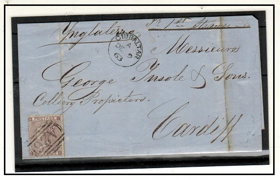 GIBRALTAR - 1863 GB 6d lilac used on entire to UK by
