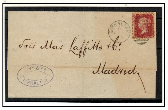 GIBRALTAR - 1880 GB 1d red on outer wrapper to Spain tied