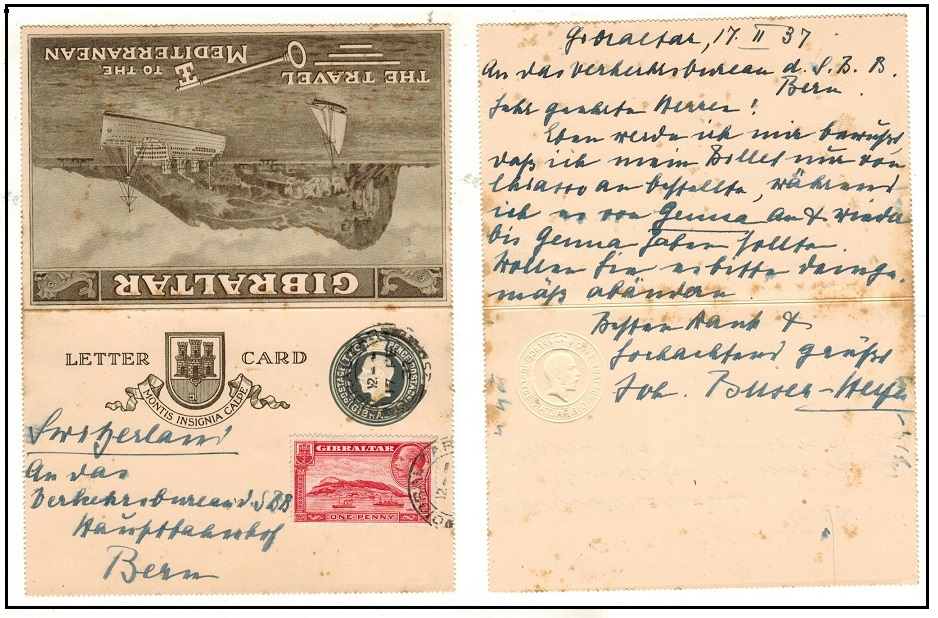 GIBRALTAR - 1933 2d postal stationery letter card uprated to Switzerland.  H&G 1.