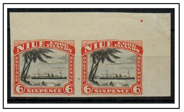NIUE - 1932 6d IMPERFORATE PLATE PROOF pair of