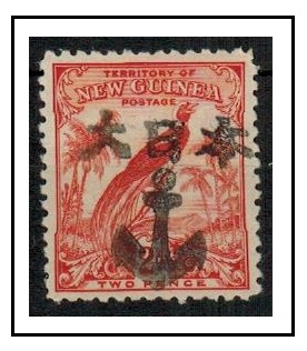 NEW GUINEA - 1932 2d vermilion (SG 179) handstamped by JAPANESER NAVY ANCHOR h/s.