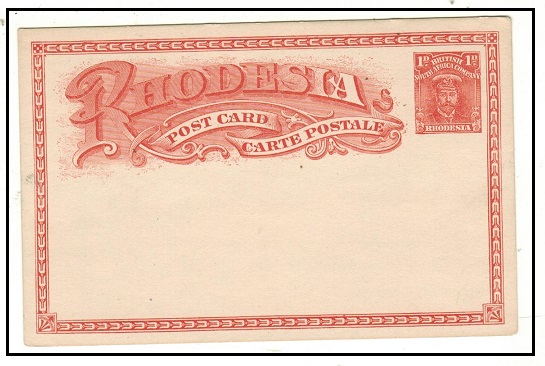RHODESIA - 1913 1d red PSC unused.  H&G 15.