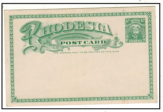 RHODESIA - 1913 1/2d green PSC unused.  H&G 14.