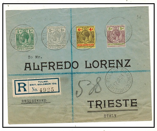SOLOMON ISLANDS - 1924 multi franked registered cover to Italy used at TULAGI.